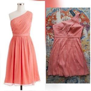 J. Crew Kylie dress silk chiffon soft coral NWT